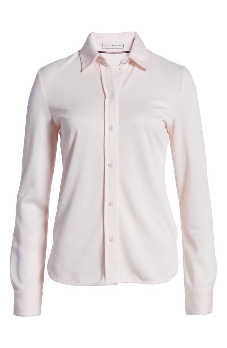 Tommy Hilfiger Knit Button-Up Blouse | Nordstrom