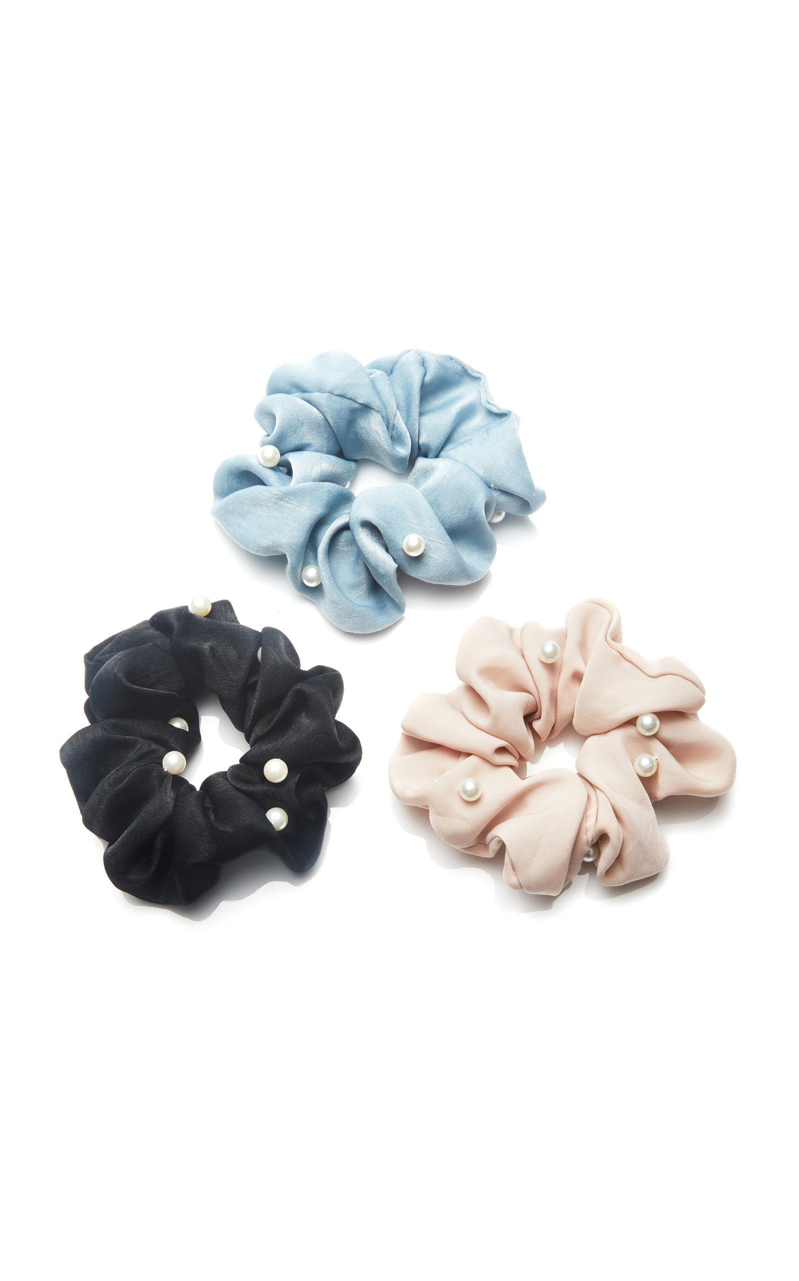 8 Other Reasons Set-Of-Three Pearl-Embellished Twill Scrunchies