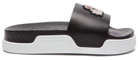 Beau Donna Crest Applique Leather Slides - Womens - Black Multi
