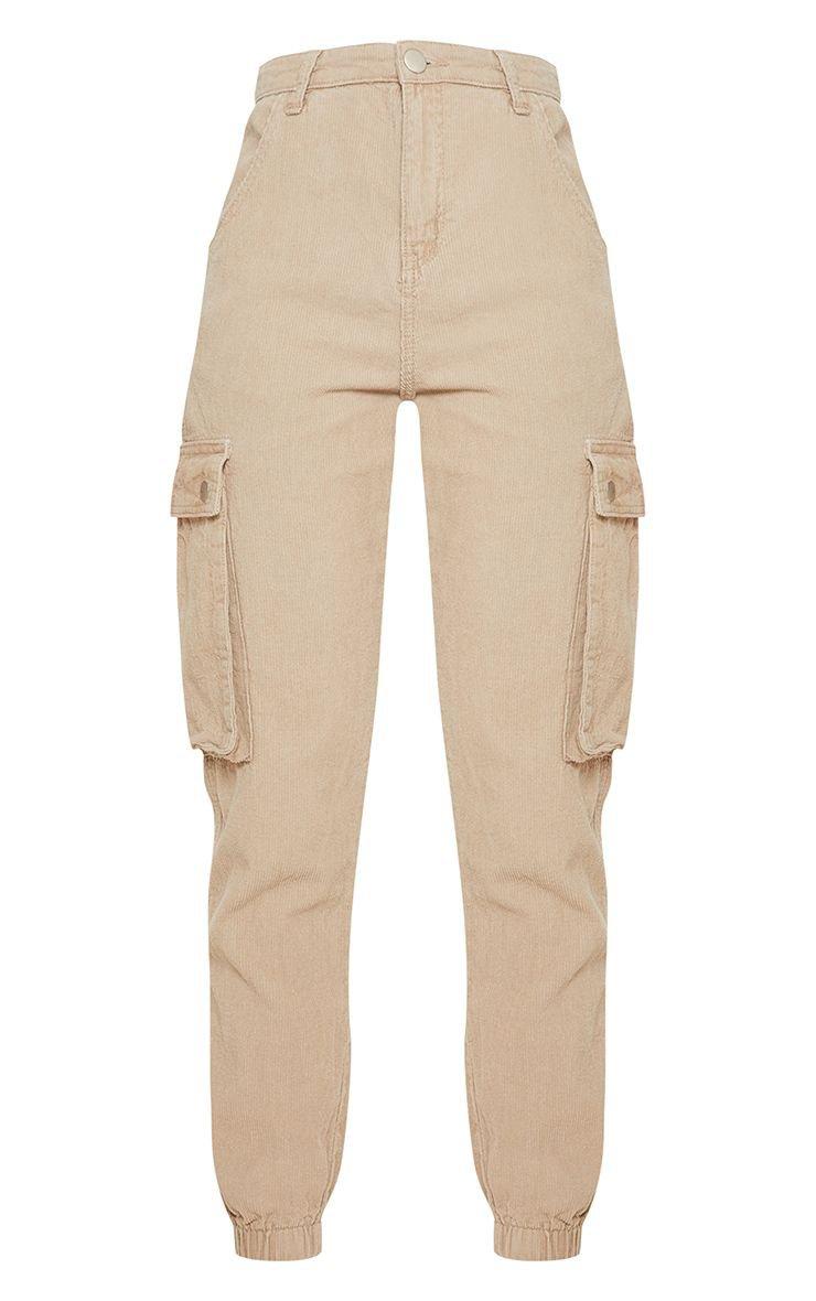 Khaki Cord Cargo Trouser   PrettyLittleThing