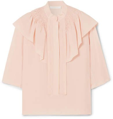 Ruffled Silk-crepe Blouse - Blush