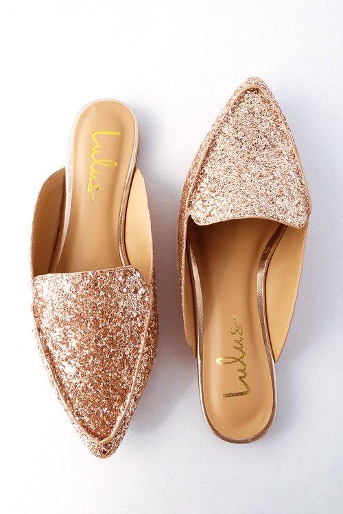 Chic Rose Gold Glitter Loafer Slides - Slip-On Loafers - Flats