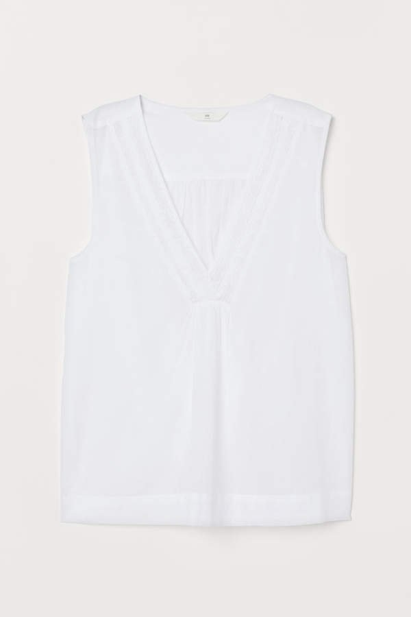 Sleeveless Blouse with Lace - White