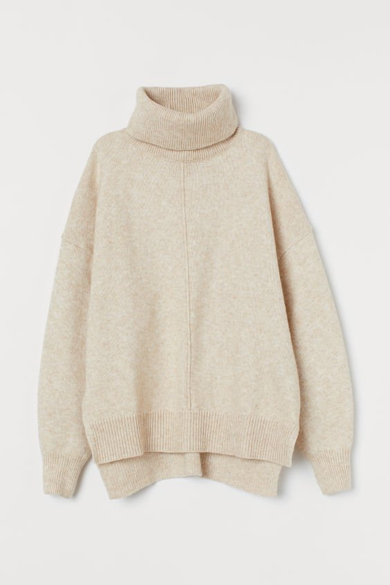 Knit Turtleneck Sweater - Light beige melange - Ladies | H&M US