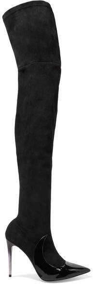 Mars - Stocking Ala Suede And Patent-leather Over-the-knee Boots - Black