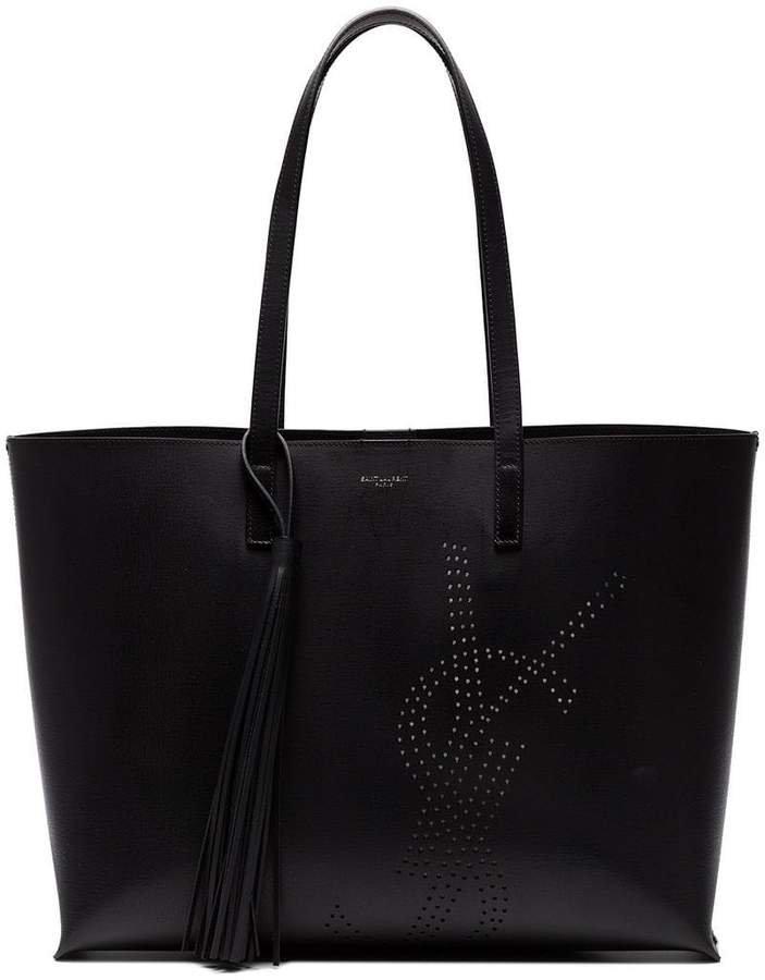 Black Logo Leather Tote Bag