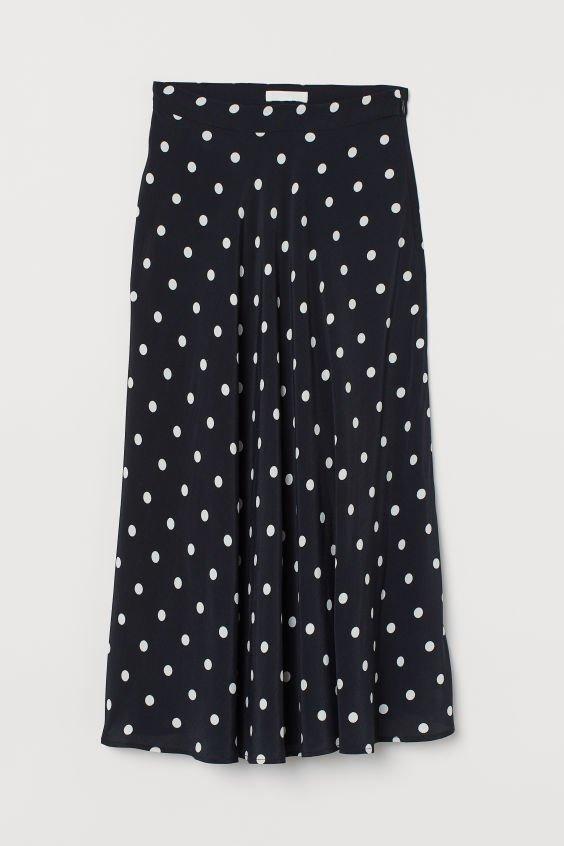 Circle Skirt - Black/white dotted - Ladies | H&M US