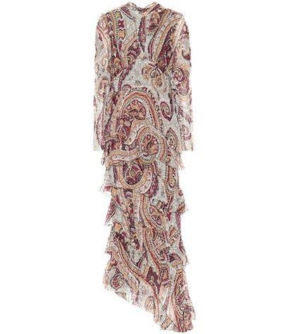 Paisley silk-blend gown
