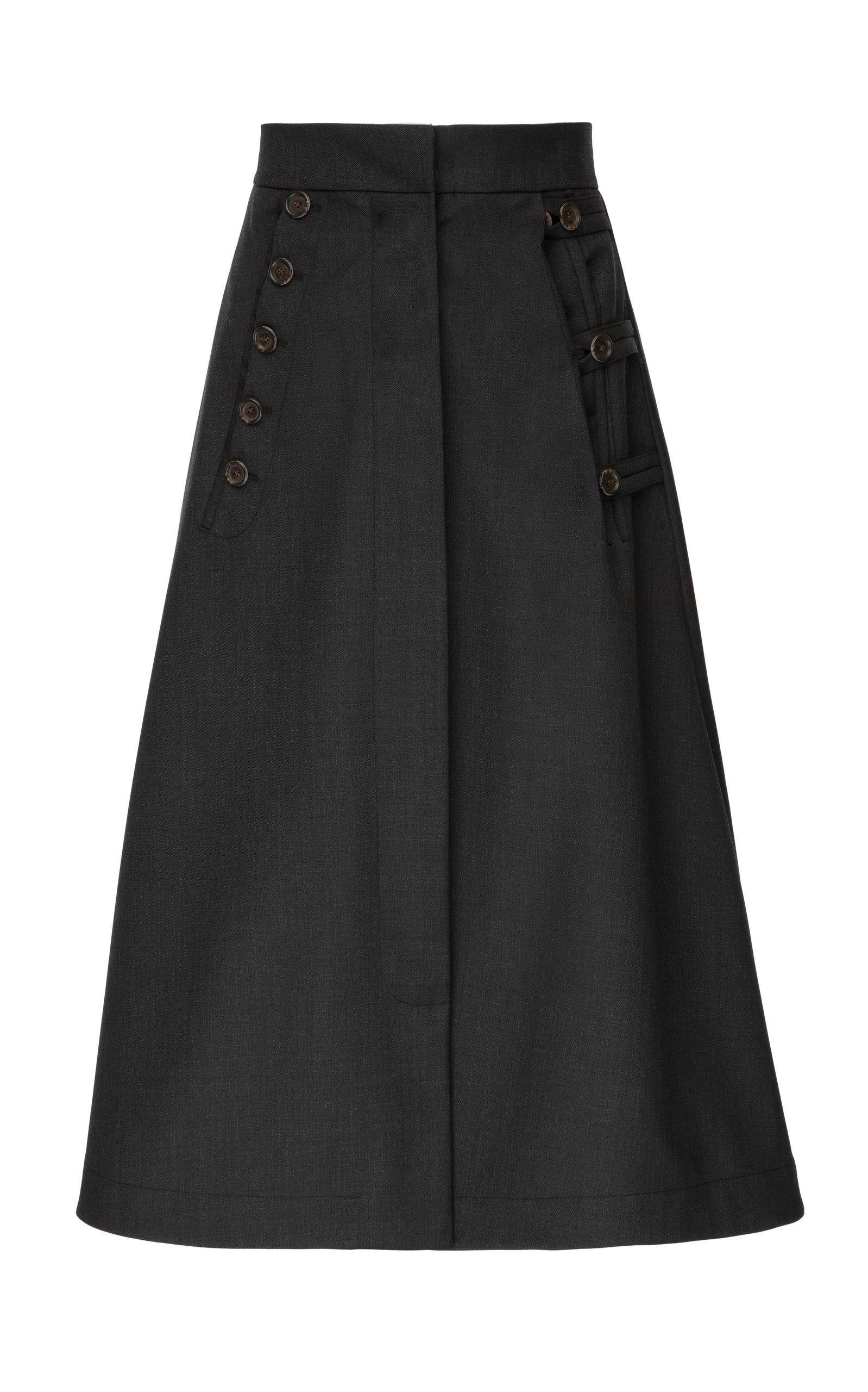 Babukhadia High Waisted Button Skirt