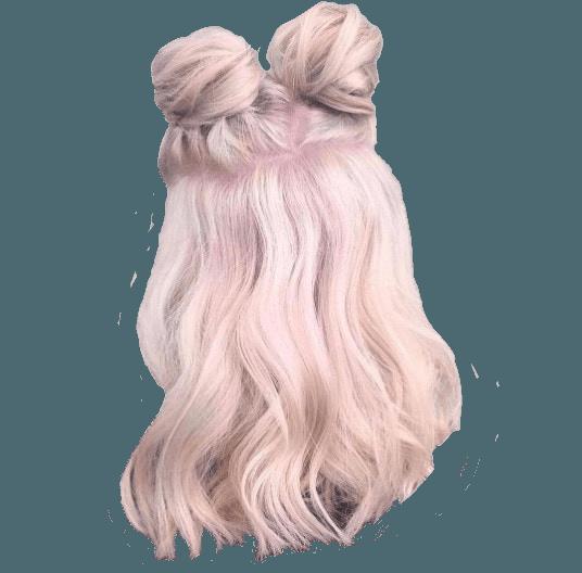 half double bun pink hair