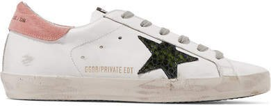 Superstar Distressed Suede And Leather Sneakers - White