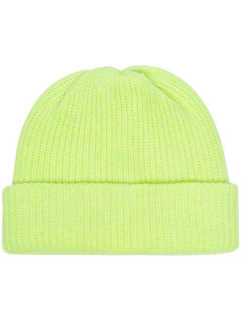 The Elder Statesman neon yellow cashmere beanie hat