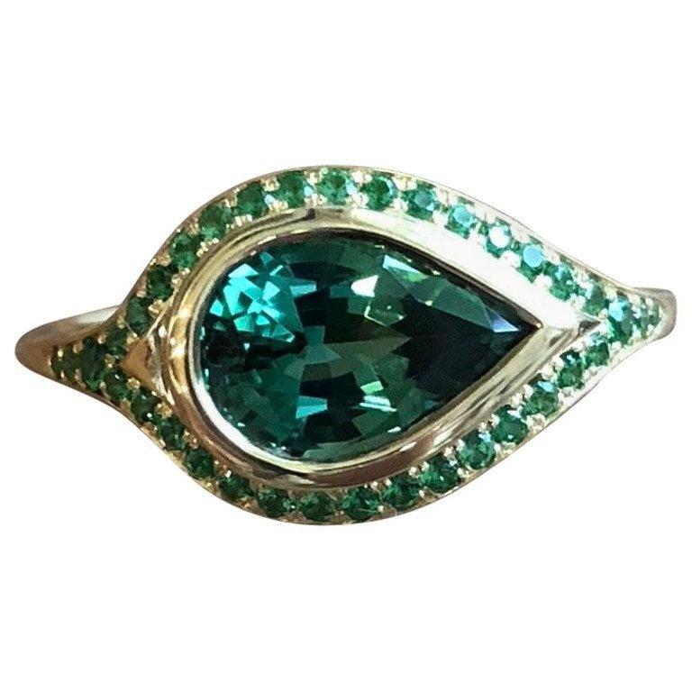Pear Shaped 2.46 Carat Tourmaline and Tsavorite Pavé 18 Karat Gold Ring For Sale at 1stdibs