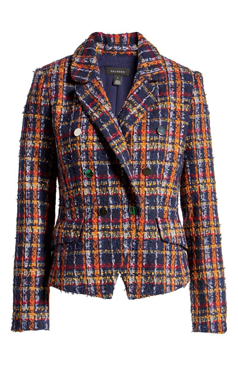 Halogen® Plaid Tweed Jacket blue orange