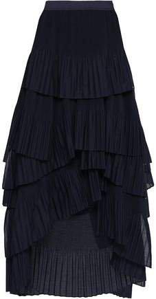 Tiered Plisse Gauze Midi Skirt