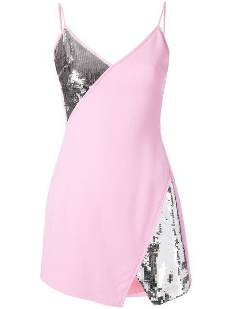 pink and silver sequence dress