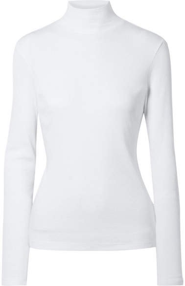Ninety Percent - Kaye Ribbed Organic Cotton-jersey Turtleneck Top - White