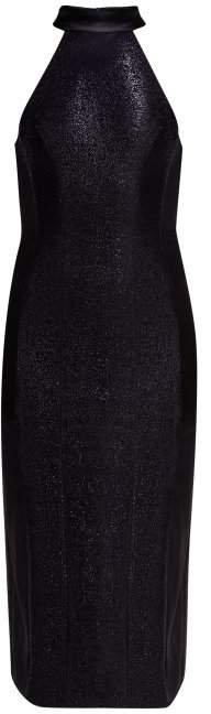 Galvan - Dusk Mesh Panel Lame Dress - Womens - Navy