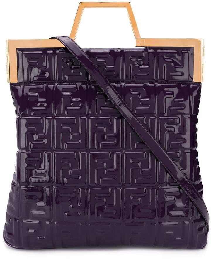 geometric handle monogram tote bag