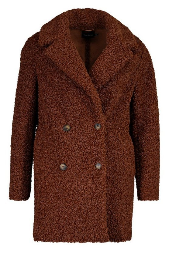 Double Breasted Bonded Faux Fur Teddy Coat | Boohoo brown