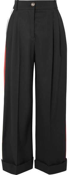 Striped Wool-crepe Wide-leg Pants - Black