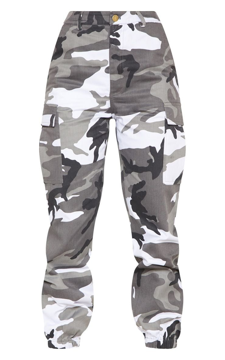 Grey Camo Pocket Detail Cargo Pants | PrettyLittleThing USA