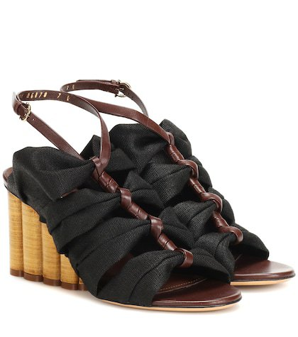 Leather-trimmed sandals