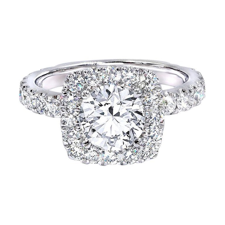 GIA Certified 1.16 Carat E/VS1 Brilliant Cut Diamond Engagement Ring For Sale at 1stdibs