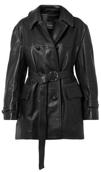 Chili Oversized Leather Trench Coat - Black