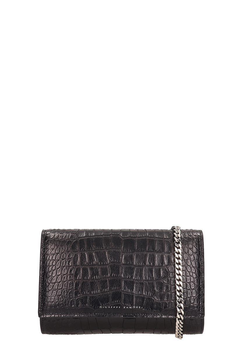 Giuseppe Zanotti Black Python Print Leather Bag