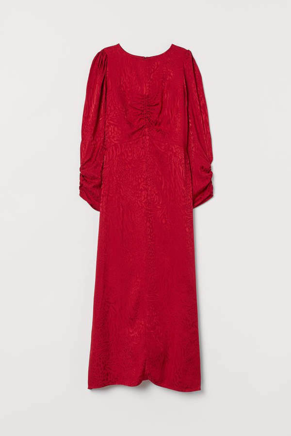 Jacquard-weave Dress - Red