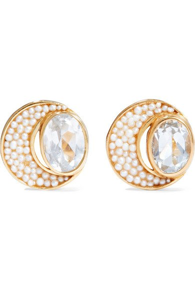 Percossi Papi   Gold-plated topaz and pearl earrings   NET-A-PORTER.COM