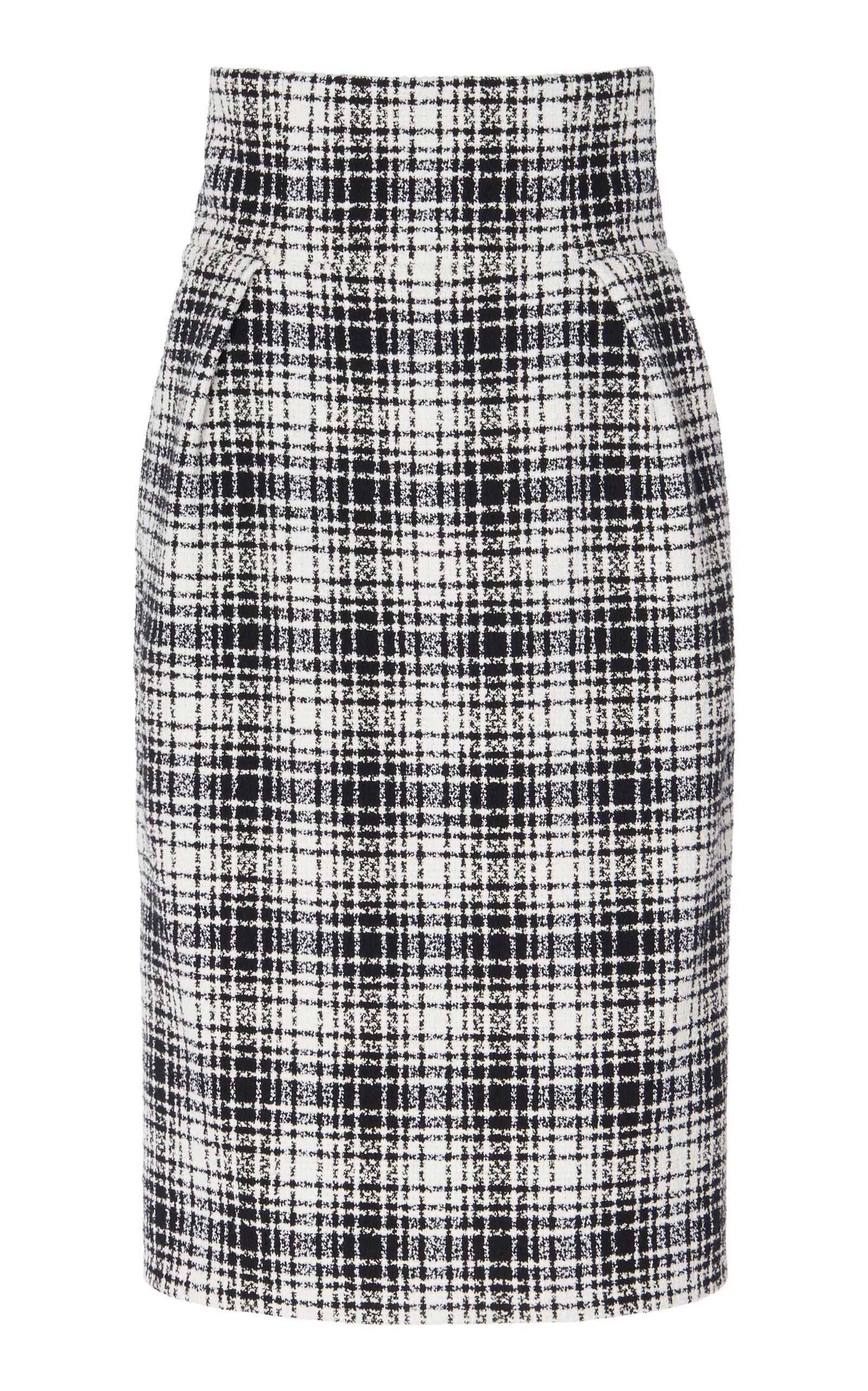 Alexandre Vauthier Plaid Cotton-Blend Pencil Skirt Size: 38