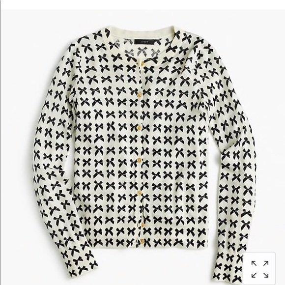 J. Crew Sweaters | J Crew Jackie Cardigan Sweater In Bow Print | Poshmark