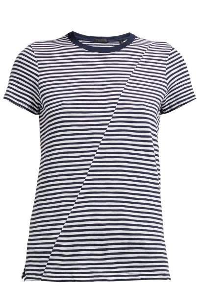 Atm - Striped Slubbed Cotton T Shirt - Womens - White Multi