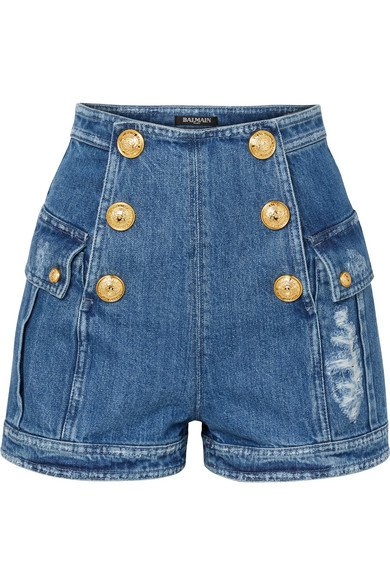 Balmain | Button-embellished distressed denim shorts | NET-A-PORTER.COM