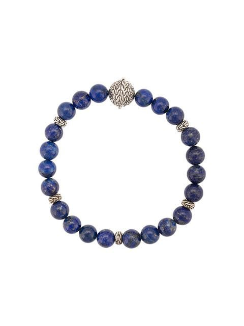 John Hardy Silver Classic Chain Lapis Lazuli Round Bead Bracelet