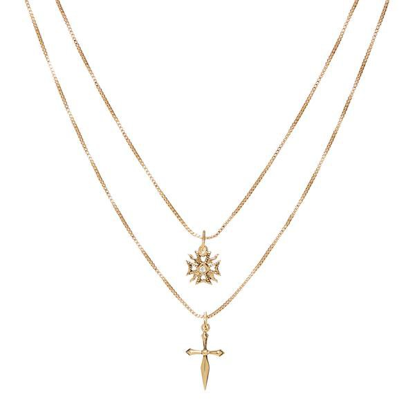 The Double Fleur Cross Necklace- Gold | Luv Aj