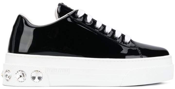 crystal embellished lace up trainers