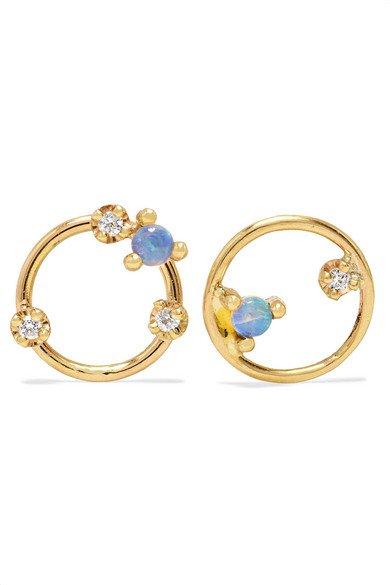 Wwake | + NET SUSTAIN gold, diamond and opal earrings | NET-A-PORTER.COM
