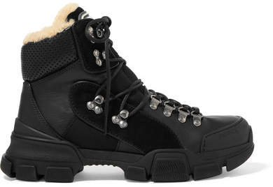 Flashtrek Faux Shearling-trimmed Leather, Canvas And Suede Boots - Black