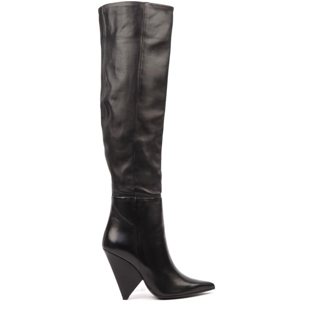 Aldo Castagna Black Nappa Leather Boots