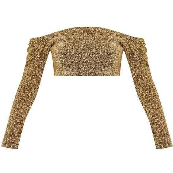 Krystle Gold Metallic Longsleeve Crop Top