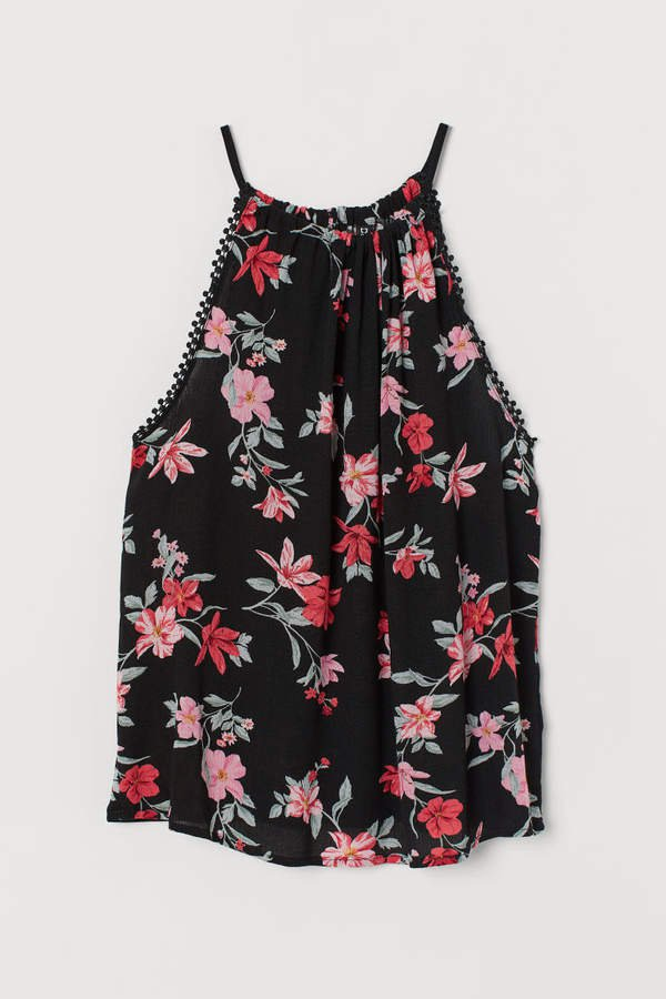 Crinkled Camisole Top - Black