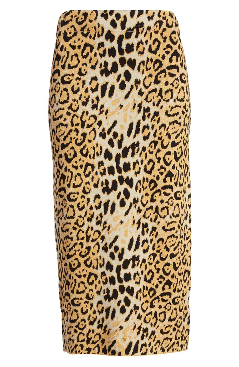 J.O.A. Leopard Print Fitted Skirt brown
