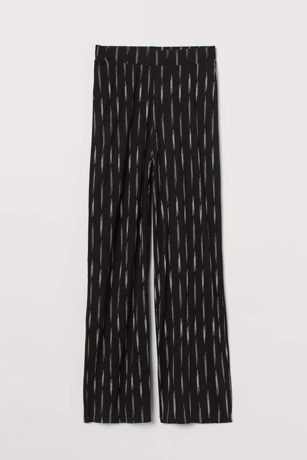 Wide-cut Jersey Pants - Black