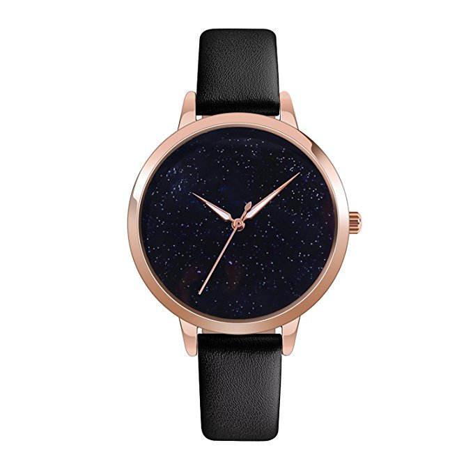 Amazon.com: J.Market Quartz Watch Womens 30 Meters Waterproof Lady Watch Creative Starlight Dial with Genuine Leather Band (Black): Health & Personal Care
