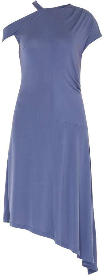 PAISIE - One Shoulder Dress With Neck Strap & Asymmetric Hem In Blue