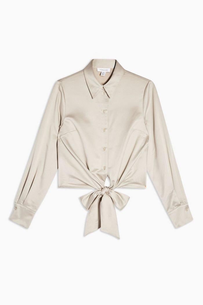 Satin Knot Front Blouse beige cream| Topshop
