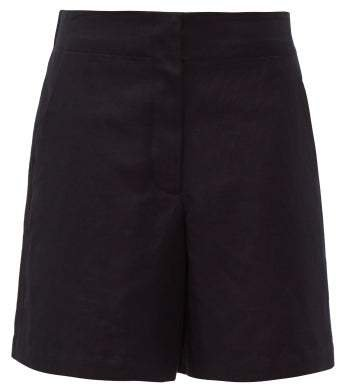Elasticated Back Cotton Blend Shorts - Womens - Navy
